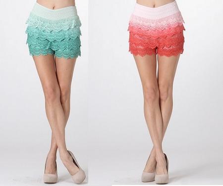 Mint Ombre Crochet Shorts