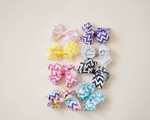 "4"" Chevron Bows- 8 colors"