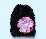 Black Soft Fuzzy Hat with Pink Flower