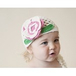 White Crochet Hat with Pink Flower