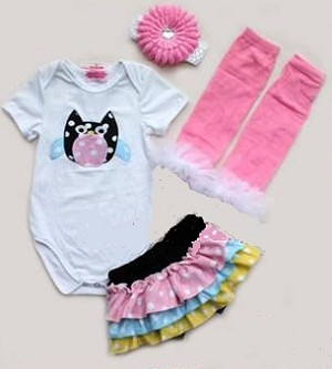 Owl Onesie Set- Includes onesie, headband, leg warmers, and skirt bloomers!