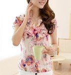 Chiffon Floral Blouse- Ivory or Pink