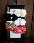 Double Rosette Headband with Rhinestone- Many Colors