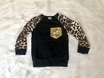 Black and Leopard  Top with Gold Sequins