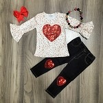 Cheetah Sequin Heart Outfit