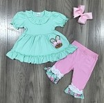 Mint and Pink Bunny Capris Set with Floral Details
