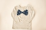 Long Sleeve Gray Bow Shirt