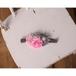 Cluster Headband Bow with Pink & Gray Embellishmentsp