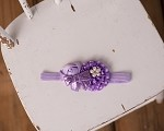 Cluster Headband Bow with Purple and Lavender Embellishments
