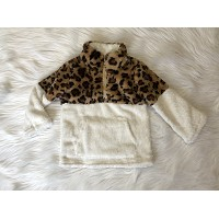 White and Leopard Sherpa pullover